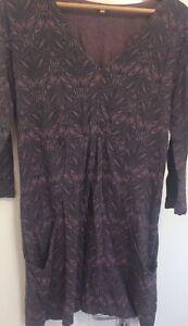 White-Stuff-Purple-and-black-100-cotton-stretch-dress-front-pockets-UK-14