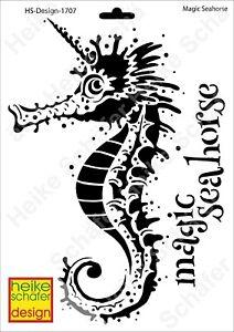 Schablone-Stencil-A4-149-1707-Magic-Seahorse-Neu-Heike-Schaefer-Design