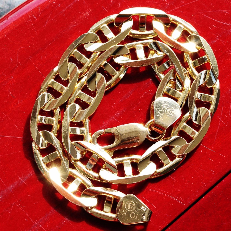 10k yellow gold bracelet 8.25  heavy Italian mariner link chain vintage 15.5gr