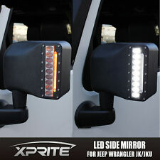 Xprite Side Mirror LED Spot Light DRL Amber Turn Signal for 07-17 Jeep Wrangler