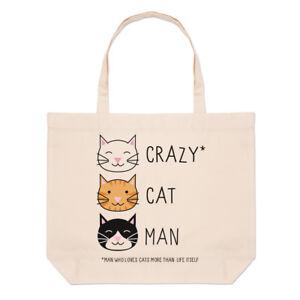Crazy-Cat-Man-Large-Beach-Tote-Bag-Kitten-Funny-Shopper-Shoulder