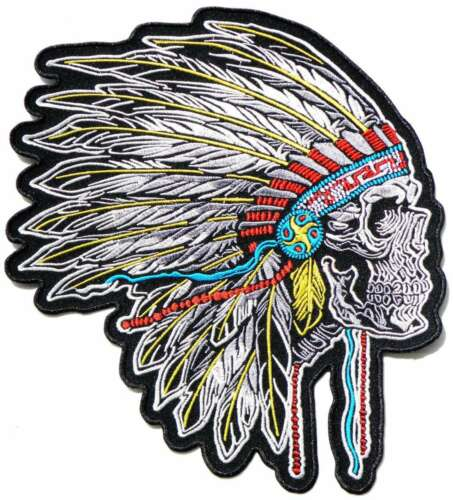 "10.5/"" XL Skull Native American Indian Chief Feather Patch Iron on Embroidered"