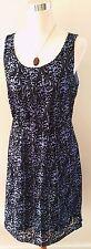 Ann Taylor Loft Black and Purple Baroque Gothic Sleeveless Dress SZ 8