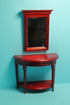 Dollhouse Miniature Half Round Side Table With Wall Mirror Drawer T3575 Möbel