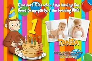 CURIOUS GEORGE 1ST BIRTHDAY PARTY INVITATION C6 PHOTO 20 NEW