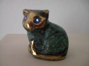 Bronze-Figur-sitzende-Katze-cat-4-x-4-x-2-5-cm