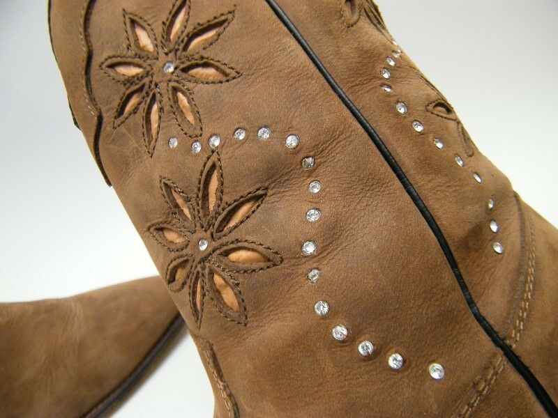 Santa Fe Boot Co SFW3010 BRN LEATHER FLORAL JEWELED COWBOY WESTERN BOOTS SZ 9 M