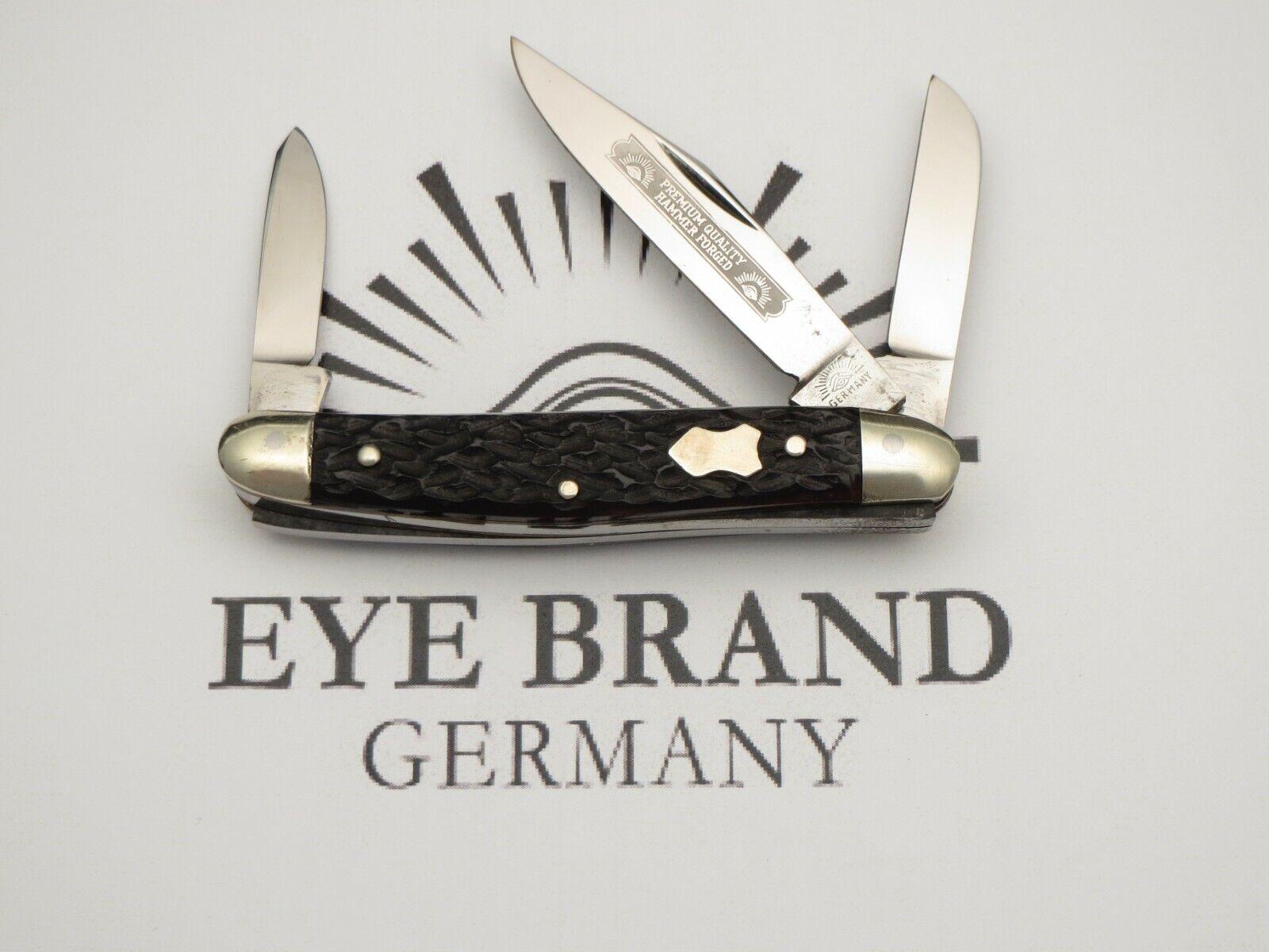 Vintage EYE BRAND Three-Eye Junior Premium Stock Knife Nice Bone MINT