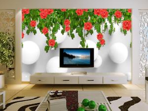 3D pink Flowers Vine 7 Wall Paper Murals Wall Print Wall Wallpaper Mural AU Kyra