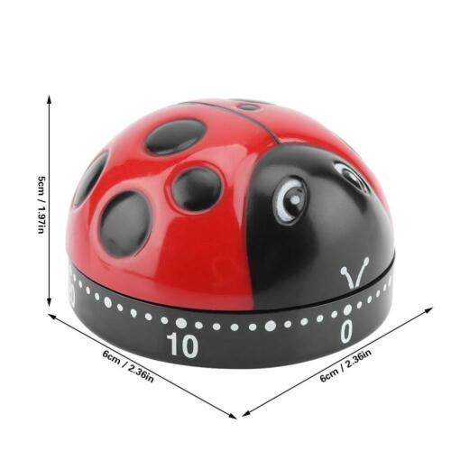 Kitchen Mechanical Timer 60 minutes Cooking Countdown Reminder Ladybug Shape