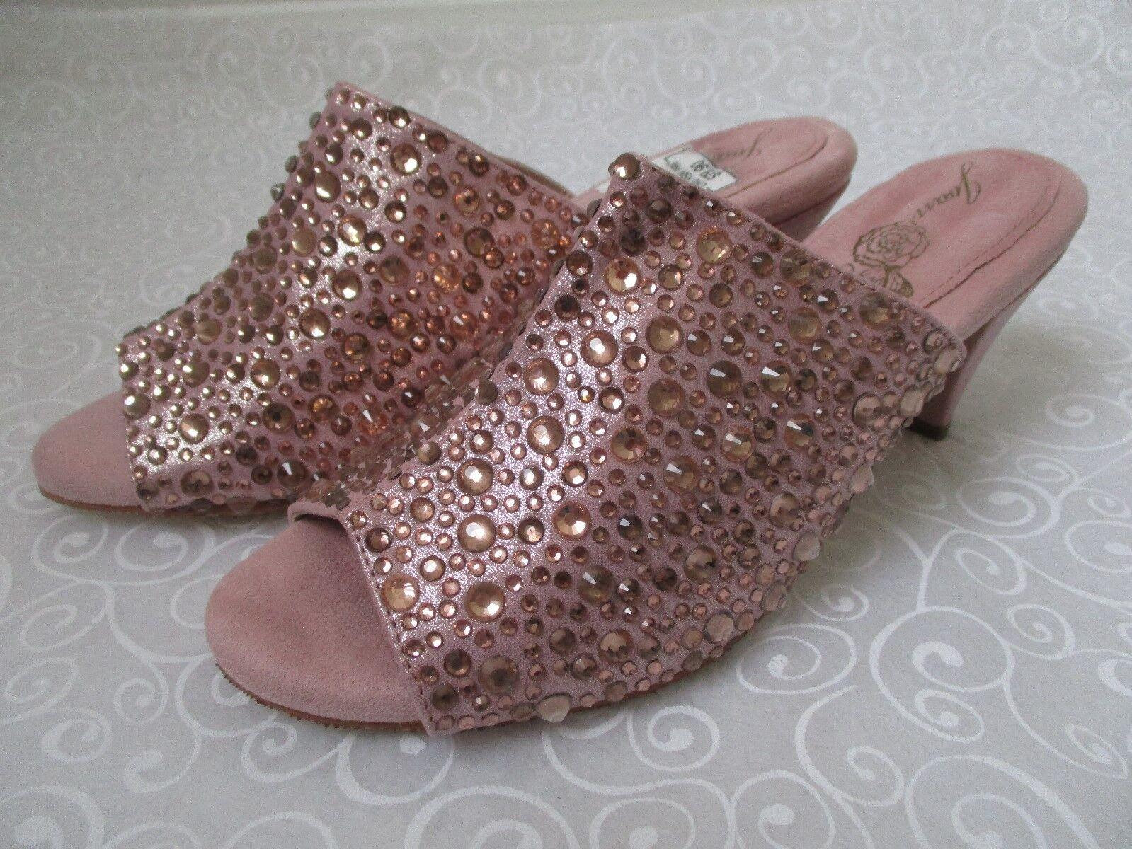 JOAN BOYCE ENCRUSTE ROSE GOLD RHINESTONE OPE TOE Schuhe SIZE 9 1/2 W - NEU