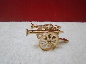 Brass-Double-Barrel-Cannon-Miniature-Antique-Vintage-Military-Functional-Wheels