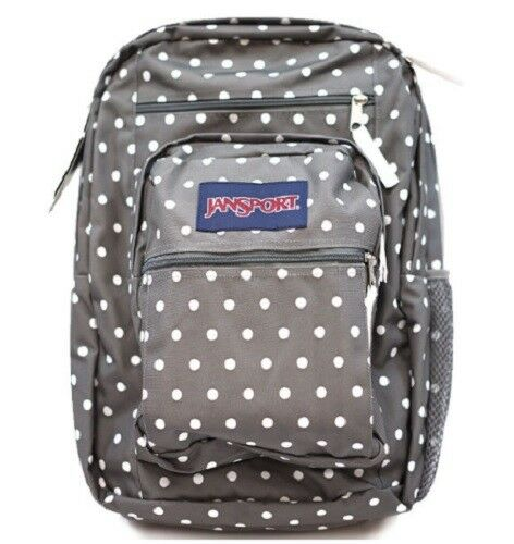 2f2ee35a96 JanSport Big Student Backpack Shady Grey White Dots 100 Authentic School  for sale online