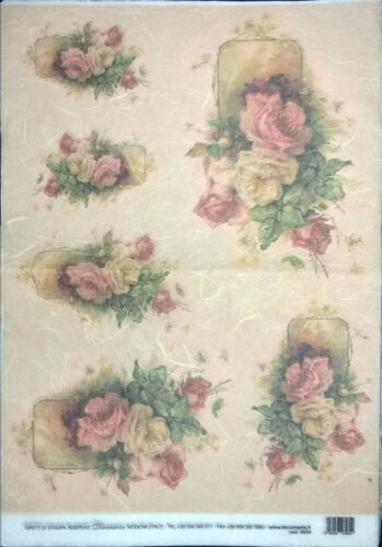 Rice Paper for Decoupage Scrapbooking and Crafts Vintage Roses 33x49 cm 5054
