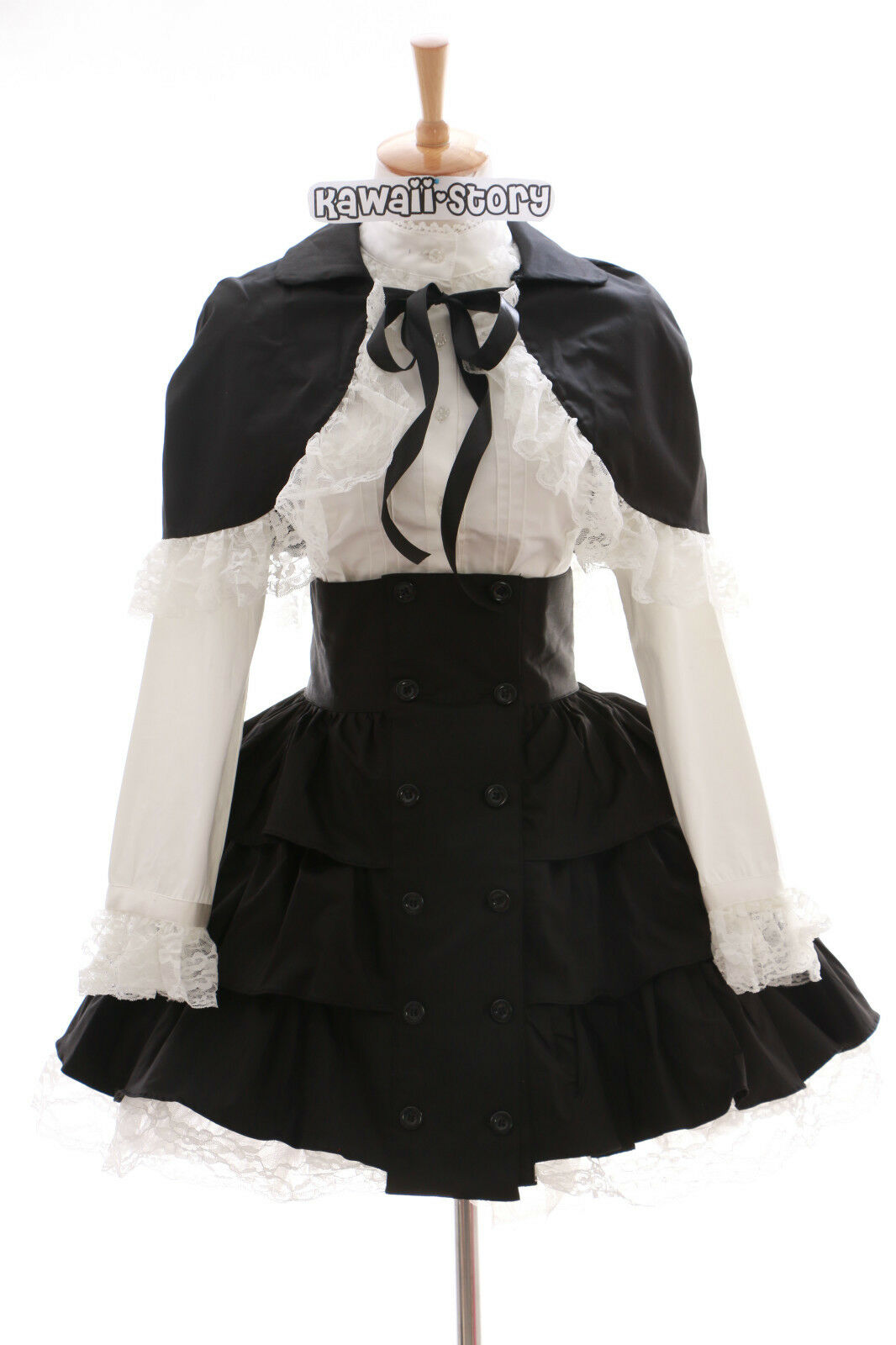 JL-574 schwarz Classic Gothic Lolita Cape Blause Rock Kostüm Kleid dress Cosplay
