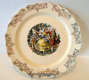 Cronin-Dinner-Plate-White-and-Gold-Dancing-Revolutionary-Couple