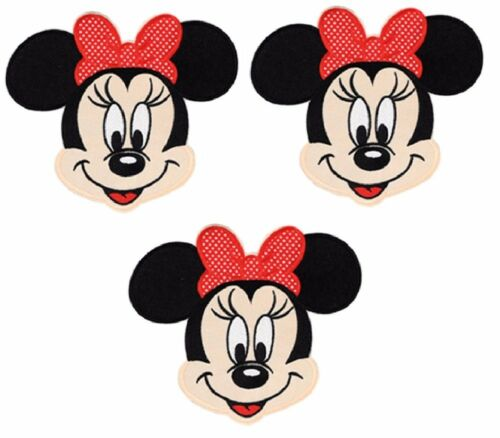 """Minnie Mouse Head Shot 3 1//2/"""" Tall Iron on Set of 3 PATCHES"""