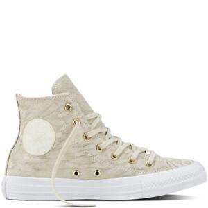 Détails sur Converse Chuck All Star daim bottes en cuir haute ivoire beige crème or Blanc s7- afficher le titre d'origine