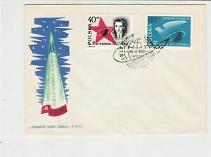 Poland-1961-Space-Exploration-Rocket-Planet-Slogan-Cancel-FDC-Stamps-Cover-25125