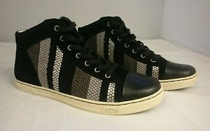 UGG Australia Taylah Woven Suede Shoes SNEAKERS Womens 9 Stripe 1011221 Black