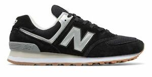 New-Balance-Men-039-s-574-Shoes-Black-With-Silver
