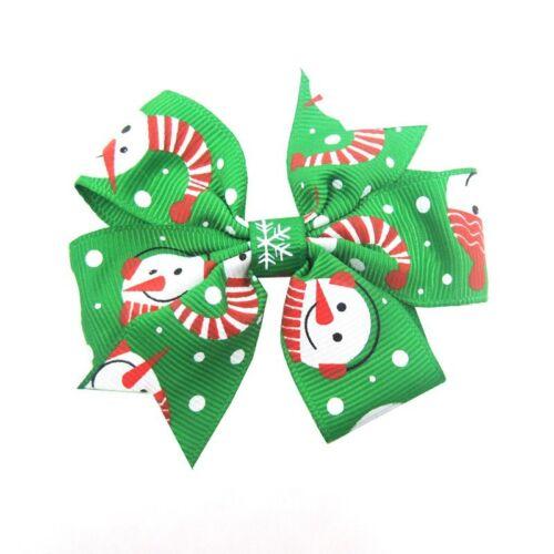 Bowknot Hairpin Hair Bow Clips 12Pcs Kids Baby Girls Xmas Christmas Barrette