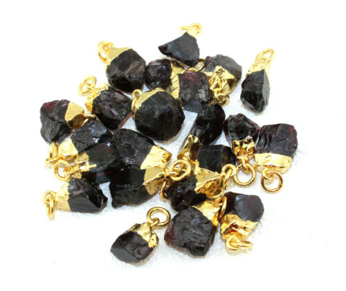 Raw Natural Rough Garnet Gold Silver Rose Gold Electroplated DIY Charms Pendant