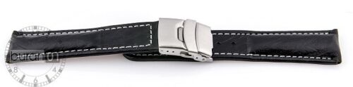 Uhrenarmbände Faltschließe Kalbsleder geprägt schwarz mit weißer Naht 20 mm,