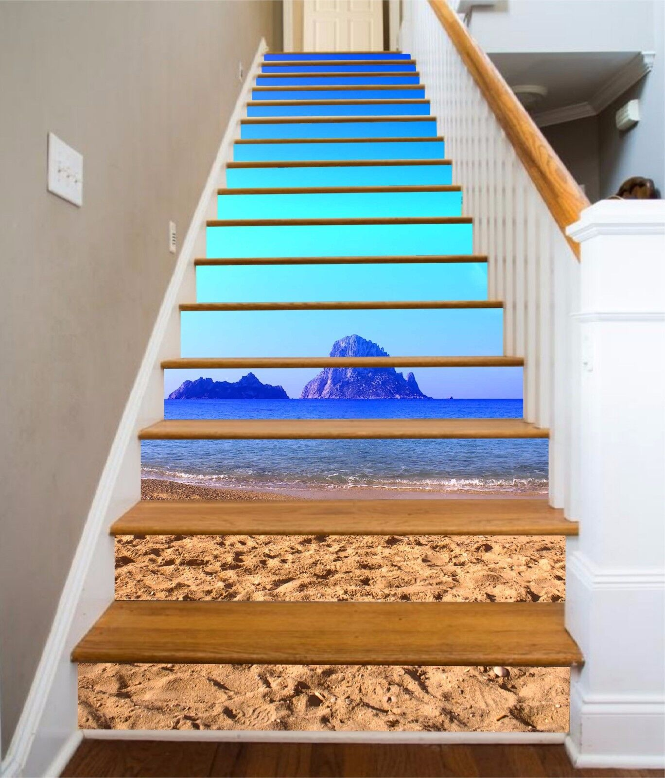 3D bluee Beach 7 Stair Risers Decoration Photo Mural Vinyl Decal Wallpaper UK