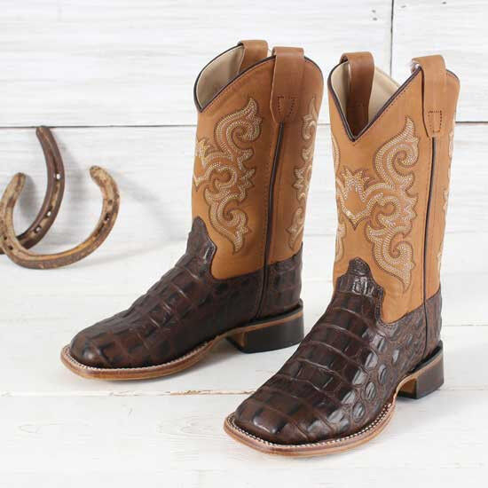 Old West Brown Caiman Print Stivali