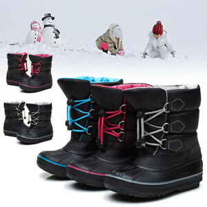AU-Winter-Children-Boys-Girls-Outdoor-Warm-Snow-Mid-Calf-Boots-Waterproof-Shoes
