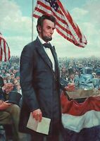 President Abraham Lincoln, The Gettysburg Address -- Military Civil War Postcard