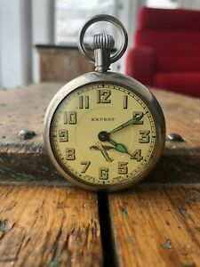 Vintage-amp-Rare-Expert-Pilot-Pocket-watch-Military-Style-Swiss-made-Working