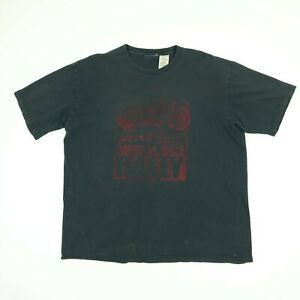Destroyed-LEVIs-T-Shirt-XL-Faded-Black-Distressed-Motorcycle-Biker-Theme
