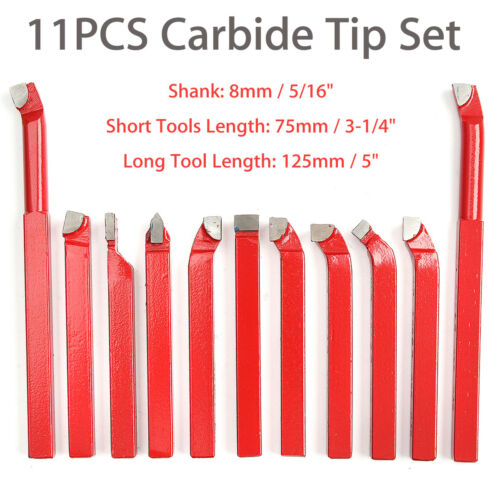 11Pcs 8MM CARBIDE TIP TIPPED CUTTER TOOL BIT CUTTING SET FOR METAL LATHE