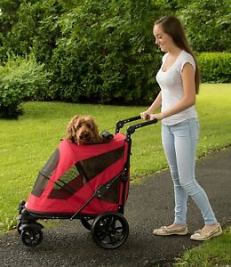 Pet-Gear-Excursion-NO-ZIP-2-Door-Dog-Pet-Stroller-up-to-100-lbs-Candy-Red