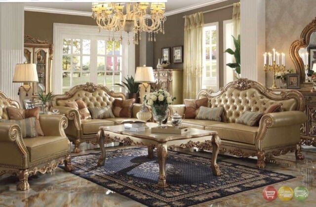 Dresden Traditional 3-Pc Bone Faux Leather Sofa Set with Gold Patina Accents