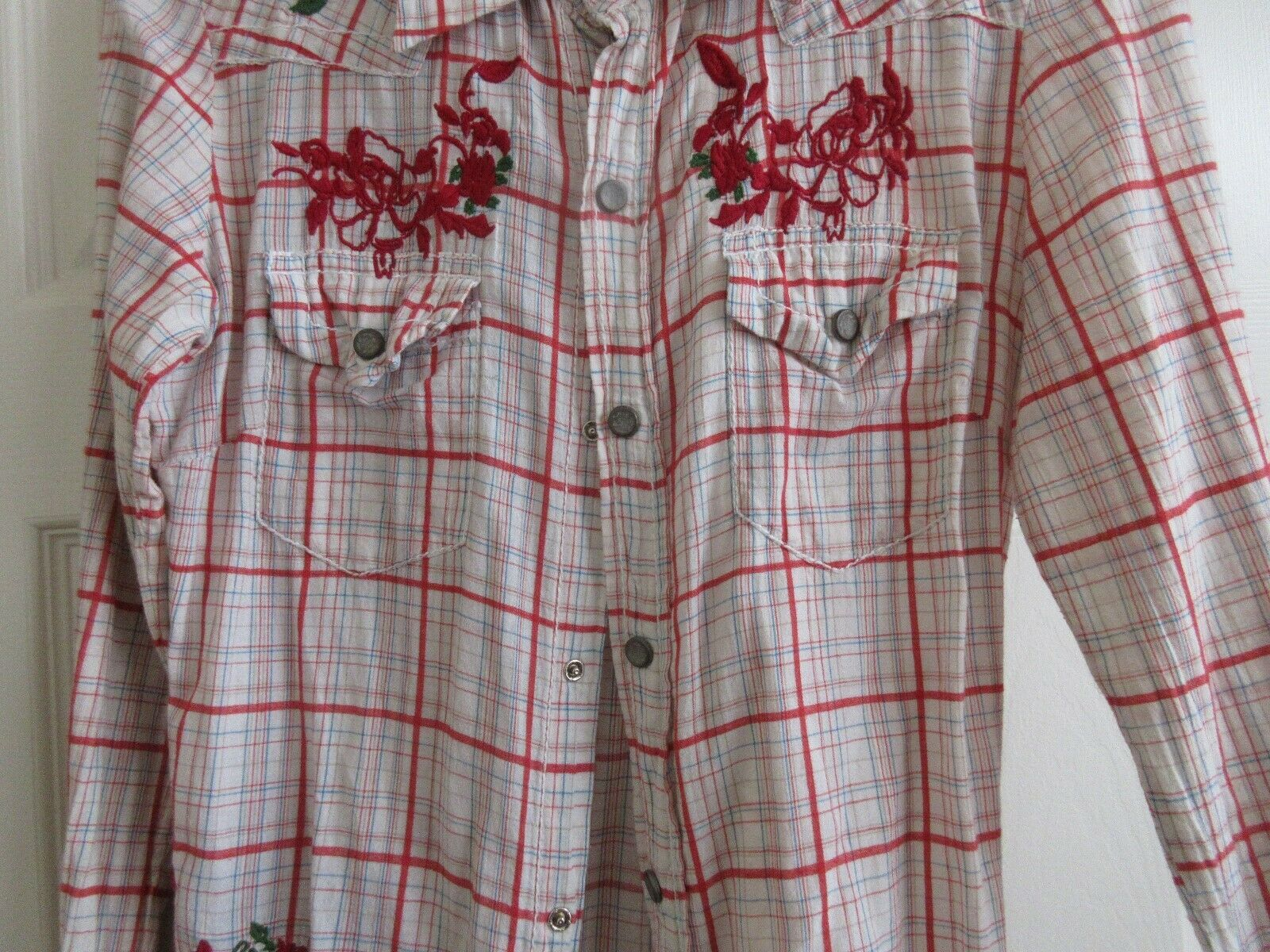 Guess Jeans , Ladies Shirt , 100% Cotton , Small , Red