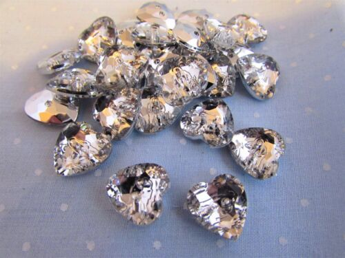 10 or 20 13mm Silver Backed Crystal Rhinestone Heart Shaped Buttons Packs 2 5
