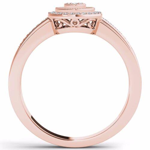 Natural 0.15 Ct 10k Rose Gold Diamond Halo Engagement Ring Size
