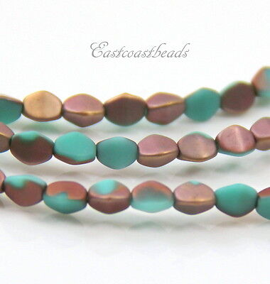 Oval Nugget Pendant Beads Teal w//Frosted Matte Finish 6 Pieces