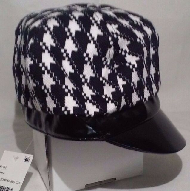 August Accessories Women s Black Diamond Modboy Cap Houndstooth Faux  Leather OS 54246f32e