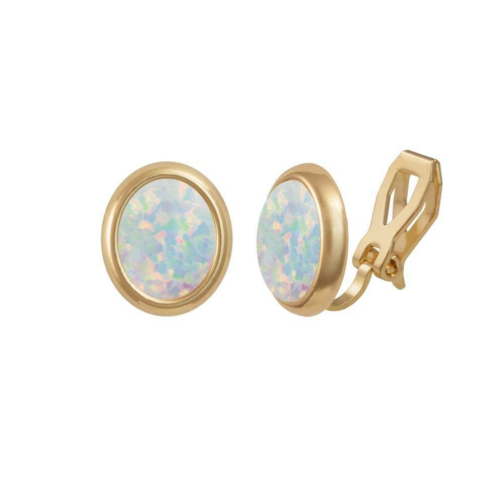 Minuet White Opal gold Tone Stud Clip On Earrings (MM)