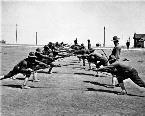 TX Camp Bowie New 11x14 World War I Photo: U.S Soldiers at Bayonet Practice