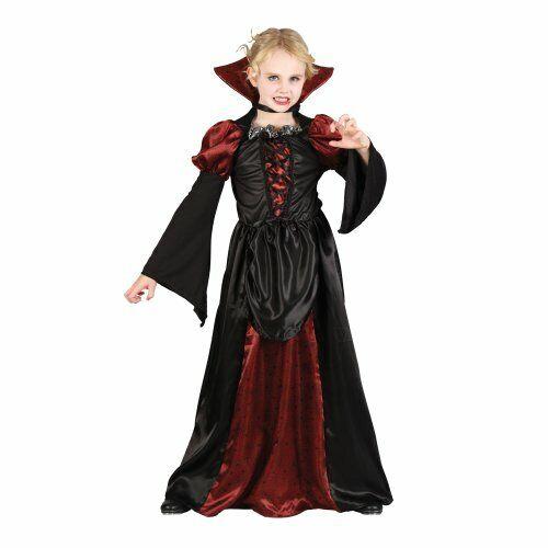 Girls Scary Vampiress Halloween Costume for Fancy Dress Childrens Kids S