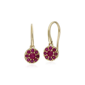 Gemondo-9ct-Yellow-Gold-Ruby-Round-Cluster-Drop-Earrings