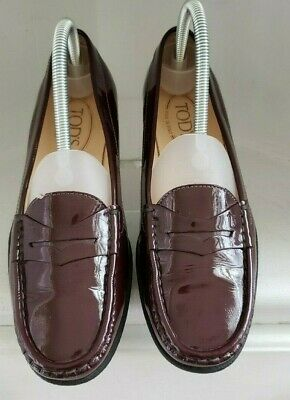 Tods Driving Flats Size 7.5 Cordovan Red Patent Leather ...