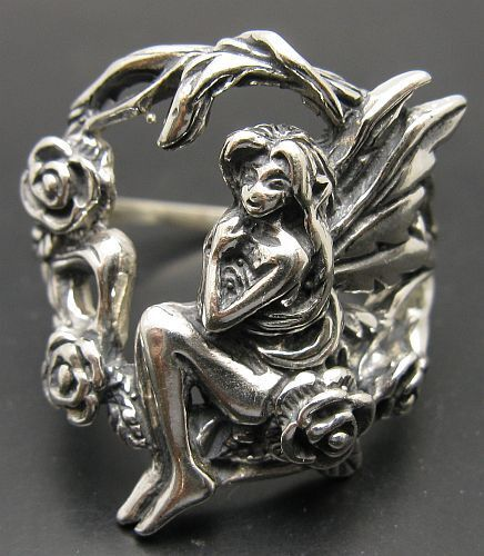 STERLING SILVER RING SOLID 925 FAIRY FLOWER ROSE WINGS NEW SIZE 4-13 EMPRESS
