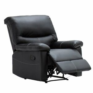 online store 9f152 96738 Details about Single Chair Leather Armchair Sofa Bed Luxury Bonded Recliner  Black Chair