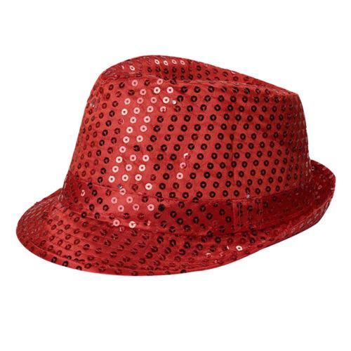 Unisex LED luce intermittente UP Cappello Fancy Dress Cappello Fedora BORSALINO PAILLETTES CAPPELLO CAPPELLI D